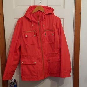 Michael Kors  bright coral rain jacket